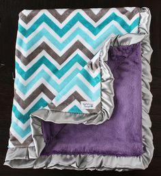 Minky blanket, chevron minky, chevron blanket, teal and aqua, teal purple and grey, Baby Girl, Ruffle Blanket, Soft Blanket Woobie, Cute