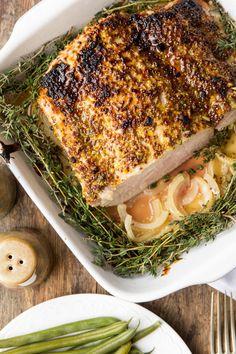 roasted pork in mustard sauce Pork Ham, Pork Roast, Pork Recipes, Cooking Recipes, Healthy Recipes, Healthy Food, Polish Recipes, Salmon Burgers, Bacon
