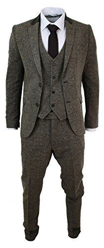 three-piece herringbone suit