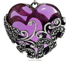 Amazon Collection Sterling Silver Gemstone Heart Pendant Necklace