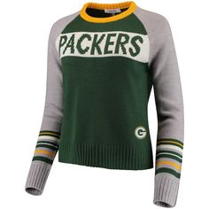 a2a349a24 Women s Touch by Alyssa Milano Green Gray Green Bay Packers Team Spirit  Pullover Sweater