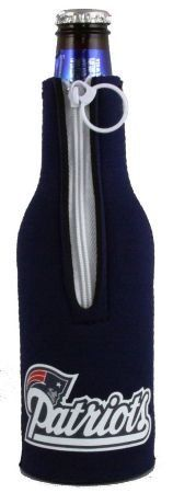"""NEW ENGLAND PATRIOTS BOTTLE SUIT KOOZIE COOZIE COOLER by Hall of Fame Memorabilia. Save 30 Off!. $6.99. Made from neoprene.. Keeps drinks cold and hands dry.. Officially licensed by the NFL. PRODUCT DESCRIPTION: Bottle Suit TM - Made from 3 mm neoprene """"wetsuit"""" rubber, Kolder's Bottle Suit keeps your drink cold! Features include a full glued-in bottom and easy pull zipper. Insulates 12-ounce bottles. *Fits 12 oz. bottles *MSRP $7.99 *This auction is for (1) koozie"""