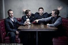 Elijah Wood, Sean Austin, Dominic Monaghan and Billy Boyd.  Hobbit ten-year reunion.