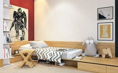 great design idea for kids bedroom that is not a freestanding bed.