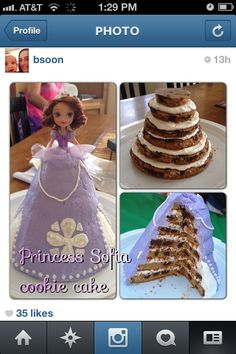Sofia the First birthday cookie cake with buttercream frosting