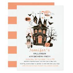 Lovely Haunted House Kids Birthday Halloween Invit Card - Halloween happyhalloween festival party holiday