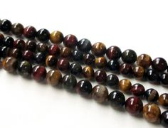 Smooth TigerEye Natural Gemstone Beads Mix Color by BijiBijoux