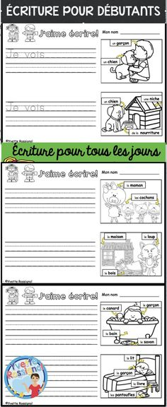 These fun French writing prompts with labelled images, sight words and easy vocabulary are perfect for writing journal or French writing centers. Perfect for primary or grade one French Immersion! French Worksheets, 1st Grade Worksheets, Teaching French Immersion, French Basics, Communication Orale, Kindergarten Writing Prompts, French Teaching Resources, French Online, French Education