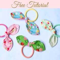 Make some of these pretty DIY hair ties to match your little girl's favorite outfits. They are perfect for using up small scrap fabrics and can attach to any kind of elastics. scrunchie with hair tie DIY Hair Ties: Bow Hairbands {Free Pattern} Diy Bow, Diy Hair Bows, Diy Hair Clips, Diy Hair Elastics, Fabric Bows, Fabric Scraps, Scrap Fabric Projects, Sewing Patterns Free, Free Sewing