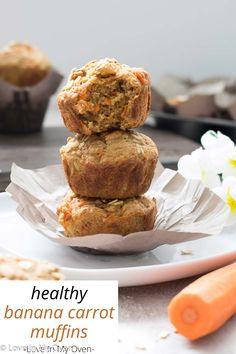 Healthy Carrot Muffins, Banana Carrot Muffins, Banana Baby Food, Chocolate Banana Muffins, Carrot Recipes, Banana Recipes, Muffin Recipes, Baby Food Recipes, Toddler Muffins