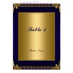 Blue Wedding Menu Gold and Royal Blue Table Placement Card Menu