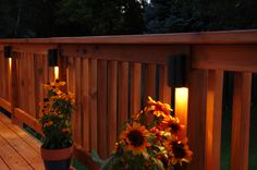 Interesting Deck Warm Lighting On Wood Fence Decor Idea Outdoor Living, Outdoor Decor, Wooden House, Coffee Cafe, Home Interior Design, Fence, Backyard, Lights, Plants