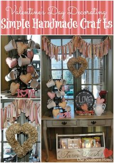 Valentine's Day Vignette from Our Southern Home with several simple craft projects! #Valentinesday #valentine #crafts #diy #oursouthernhome #valentinesdaycrafts #fabricbunting