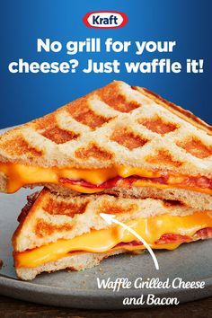 When you dont have a grill for your grilled cheese try this recipe for Waffle Grilled Cheese and Bacon. A new way to make grilled cheese but with the same Kraft American Singles kids and adults love. Breakfast Recipes, Dessert Recipes, Desserts, Waffle Maker Recipes, Making Grilled Cheese, Good Food, Yummy Food, Tasty, Food To Make