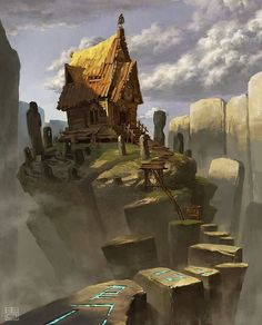 Home of magic.  Art by Qiana Zhou  #Painting #Drawing #Fantasy #Illustration #DigitalArt #ConceptArt #Art #Artist