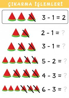 Educational Math Children Game, Subtraction With Watermelon Fun Worksheets For Kids, Math Games For Kids, Free Math Worksheets, Subtraction Kindergarten, Addition And Subtraction Worksheets, Kindergarten Math Worksheets, English Lessons For Kids, Math Books, Kids Education