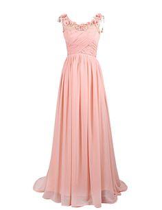 Dresstells Long Chiffon Prom Dress with Handmade Flowers Wedding Dress at Amazon Women's Clothing store: