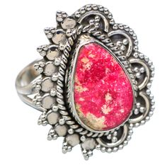 Thulite 925 Sterling Silver Ring Size 8.75 RING676210