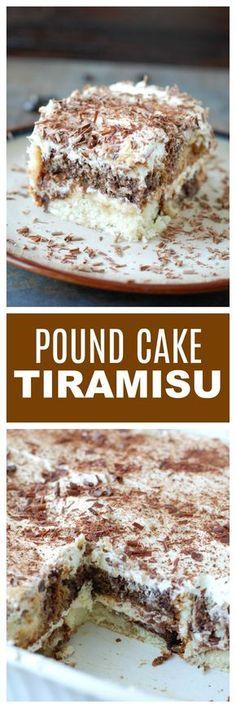 Easy Pound Cake Tiramisu: An easy dessert made with marble pound cake. 13 Desserts, Make Ahead Desserts, Homemade Desserts, Best Dessert Recipes, Cupcake Recipes, Baking Recipes, Sweet Recipes, Delicious Desserts, Cupcake Cakes
