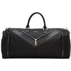 Diesel Black Mr. V Duffle Bag (1,060 ILS) ❤ liked on Polyvore featuring men's fashion, men's bags, black, diesel mens bags and mens duffel bags