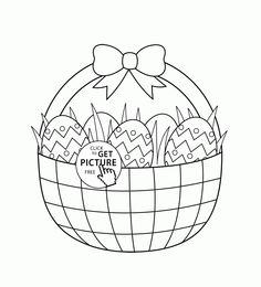 Basket With Easter Eggs Coloring Page For Kids Pages Printables Free