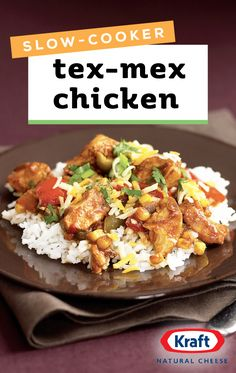 Slow-Cooker Tex-Mex-Style Chicken – Tex-Mex-style chicken with authentic flavor is as easy as combining seven ingredients in a slow-cooker—and adding a sprinkle of cheese before serving! Now this is one recipe the whole family can get on board with.