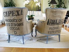 """If repurposing burlap bags, e.g., coffee sacks, as upholstery, you definitely need to carefully choose which sacks to use. Consider factors such as graphics and texture -- many bags can not only feel scratchy to the touch, but can shed fibers. (So if you favor wearing black clothing, you could end up """"wearing"""" burlap fibers, too!)"""
