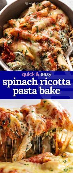 El horneado de pasta de ricotta y espinacas está hecho con ricota cremosa y un montón de espinacas . - El horneado de pasta de ricotta y espinacas está hecho con ricotta cremosa y un montón de espinaca - Seafood Recipes, Vegetarian Recipes, Cooking Recipes, Healthy Recipes, Baked Pasta Recipes Vegetarian, Healthy Pasta Bake, Recipes Using Pasta Sauce, Easy Pasta Bake, Pasta Recipes With Chicken