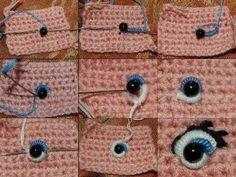 Billedresultat for how to make crochet eyes for amigurumi Crochet Diy, Crochet Eyes, Crochet Amigurumi, Crochet Doll Pattern, Amigurumi Doll, Amigurumi Patterns, Crochet Crafts, Yarn Crafts, Doll Patterns