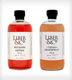 Shrub Cocktail Mixers - Rhubarb & Ginger and Texas Grapefruit, Food & Drink Beverages & Cocktails by Liber & Co. on Scoutmob Shoppe. A shrub is an old-school method of fruit preservation that's tart and sweet. #cocktails