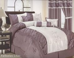 """7 Pcs Embroidery Flower 3D Leaf Comforter Set Bed In A Bag Queen Lilac Purple by Jenin. $63.99. 1 Pc Square Cushion, 1 Pc Breakfast Pillow. 2 Pcs Pillow Shams (20"""" x 28""""). 1 Pc Queen Size Comforter (86"""" x 86""""). 1 Pc Neckrol. 1 Pc Bedskirt (60"""" x 80"""" + 14"""" Drop). 7 Pcs Luxury Comforter Set  This is a very attractive comforter set.  This comforter set will give your room a new look!         Style#: Falbalas     Condition: Brand New     Size: Queen     Design: Em..."""