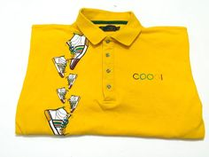 Coogi Men's XXL Golf Polo Shirt Yellow Gold Sneaker Design Short Sleeve 2XL #Coogi #PoloRugby