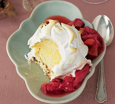 Baked Alaska with rhubarb & ginger compote Bbc Good Food Recipes, Baking Recipes, Dessert Recipes, Desserts, Compote Recipe, Baked Alaska, Vintage Baking, Macaron Recipe, Good Enough To Eat