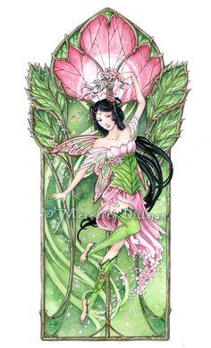 Green Fairy Art, Pink cherry blossom, Springtime, limited edition print, fantasy…