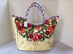Handmade Recycled Purse Tote Eyelet Needlework Floral Tote by Altiplano #Handmade #TotesShoppers