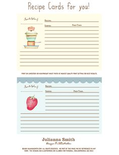 free printable recipe cards by Julianna Smith