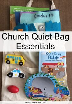 """We have an hour to keep our toddler quiet in church, and the only way we do it is by bringing a quiet bag! We try to keep these things """"Sunday only""""… Toddler Activity Bags, Toddler Busy Bags, Kids Bags, Church Activities, Indoor Activities For Kids, Toddler Activities, Toddler Games, Summer Activities, Family Activities"""