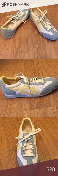 Asics Onitsuka Tiger sneakers - size 11 - like new Like new! Only worn once. Asics Onitsuka Tiger sneakers in light blue, yellow, and cream. Suede and mesh upper. Moving and need to sell...make me an offer! Onitsuka Tiger by Asics Shoes Sneakers