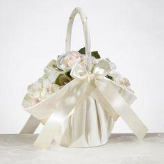 Wedding Gift:Large Satin Basket Ivory