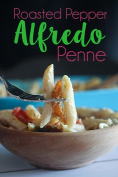 Yummy Roasted Pepper Alfredo Penne that will knock your socks off. Even my meat eating husband keeps asking for more of this pasta.
