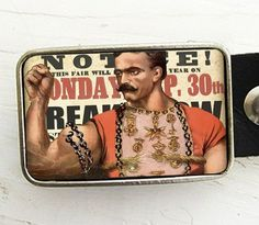 Circus Strongman belt buckle from bmused on Etsy