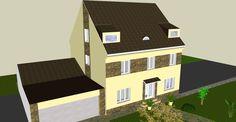 3D vizualizace - dům - kamenný obklad - zepředu
