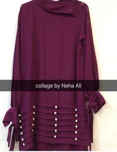 Verryyy verrry stylish dress & simply beautiful &j royal colour Simple Pakistani Dresses, Pakistani Fashion Casual, Pakistani Dress Design, Sleeves Designs For Dresses, Dress Neck Designs, Stylish Dress Designs, Stylish Dresses For Girls, Simple Dresses, Casual Dresses