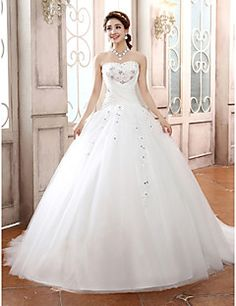 Ball Gown Strapless Tulle Court Train Wedding Dress – USD $ 119.99