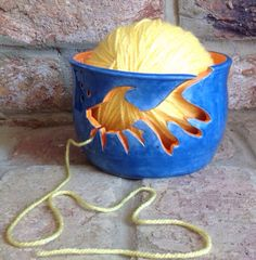 Yarn Bowl with Goldfish cut out yarn feed. on Etsy, £30.00