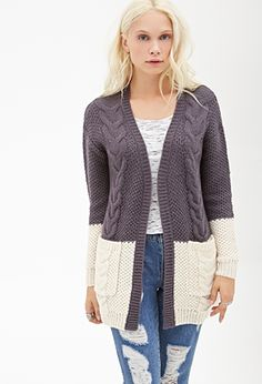 Colorblocked Cable Knit Cardigan   FOREVER21 - 2000118415
