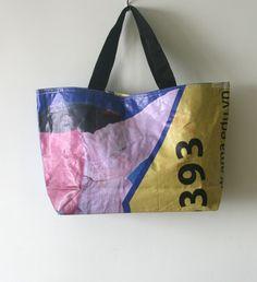 Recycled Vinyl Banner Diaper - Market - Beach - Laptop Tote - $30 Etsy.com