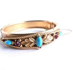 Vintage Signed Florenza Hinged Victorian Revival Bracelet - Gold Tone by MaejeanVINTAGE, $40.00