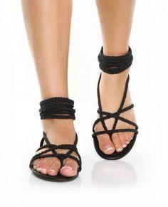 Braided sandals.