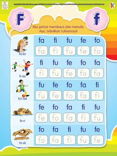 Aku Pintar Membaca dan Menulis Huruf F Kindergarten Reading Activities, Reading Worksheets, Preschool Learning, Preschool Activities, Printable Preschool Worksheets, Worksheets For Kids, Handwriting Practice Sheets, Classroom Rules Poster, Alphabet Coloring Pages